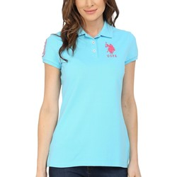 U.S. Polo Assn. Bachelor Button Neon Logos Short Sleeve Polo Shirt - Thumbnail