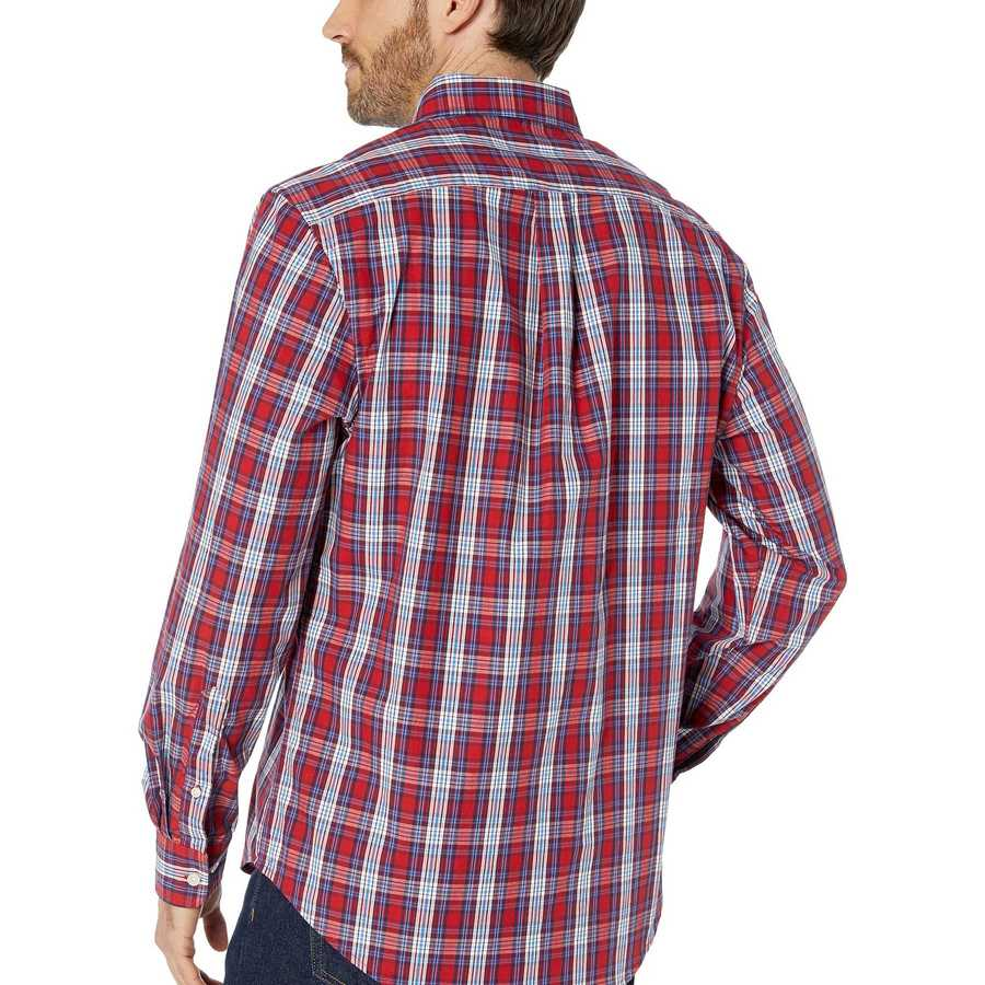 U.S. Polo Assn. Barn Red Long Sleeve Classic Fit Plaid Woven
