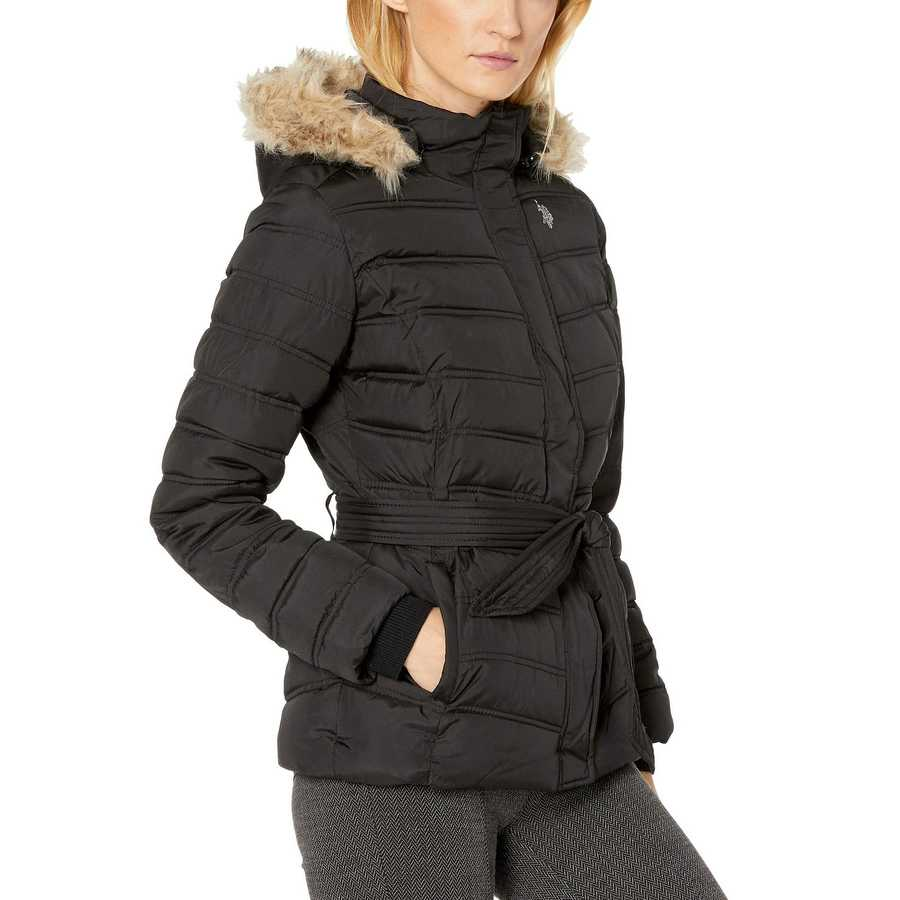 U.S. Polo Assn. Black Belted Puffer Jacket With Fur Hood