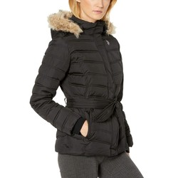 U.S. Polo Assn. Black Belted Puffer Jacket With Fur Hood - Thumbnail