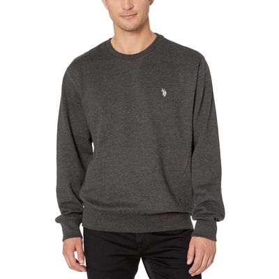 U.S. Polo Assn. - U.S. Polo Assn. Black Heather Pop Over Crew Neck Fleece