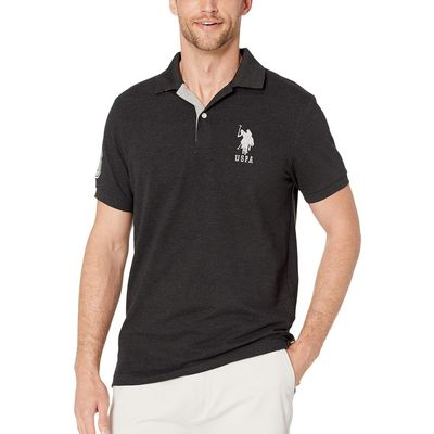 U.S. Polo Assn. - U.S. Polo Assn. Black Heather Slim Fit Big Horse Polo W/ Stripe Collar