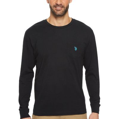 U.S. Polo Assn. - U.S. Polo Assn. Black Long Sleeve Crew Neck Pocket T-Shirt