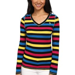 U.S. Polo Assn. Black Long Sleeve Striped Slub V-Neck T-Shirt - Thumbnail