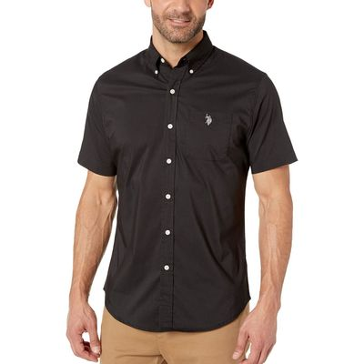 U.S. Polo Assn. - U.S. Polo Assn. Black Solid Stretch Button Down