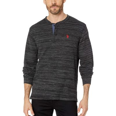 U.S. Polo Assn. - U.S. Polo Assn. Black Space Dye Thermal Henley