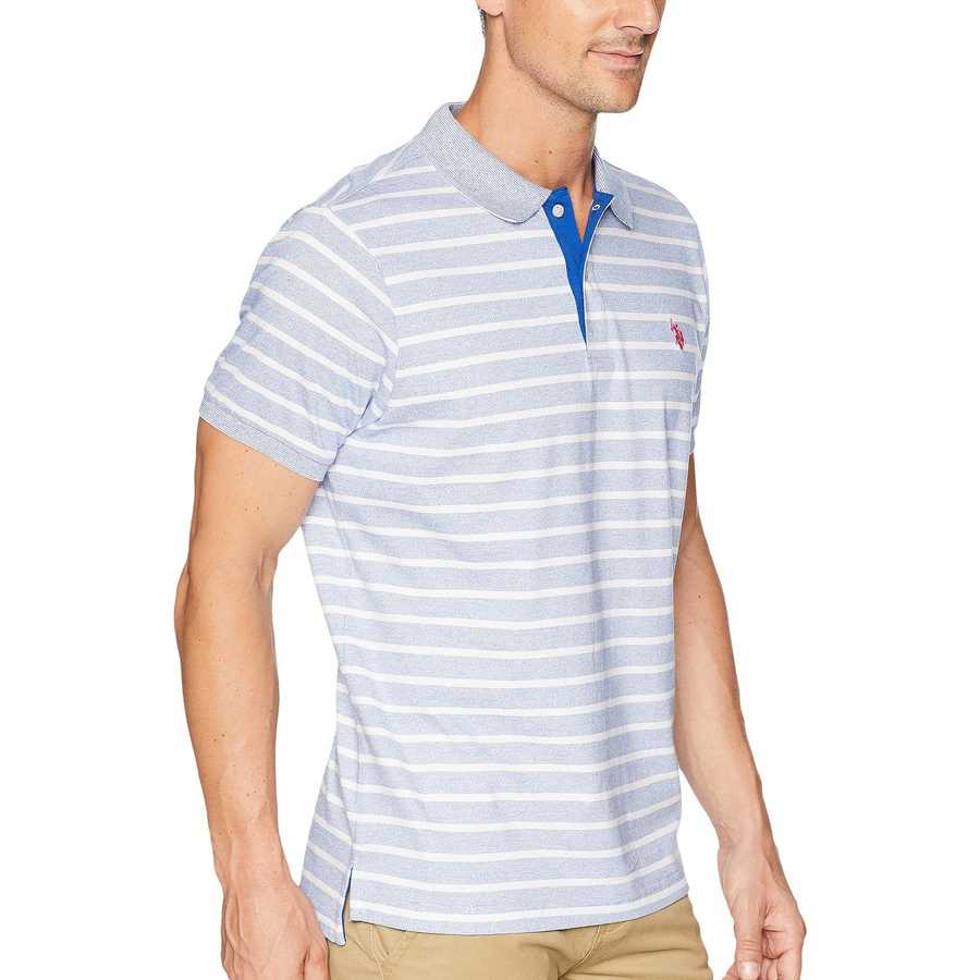 U.S. Polo Assn. Blue Raft Marled Stripe Jersey Polo Shirt