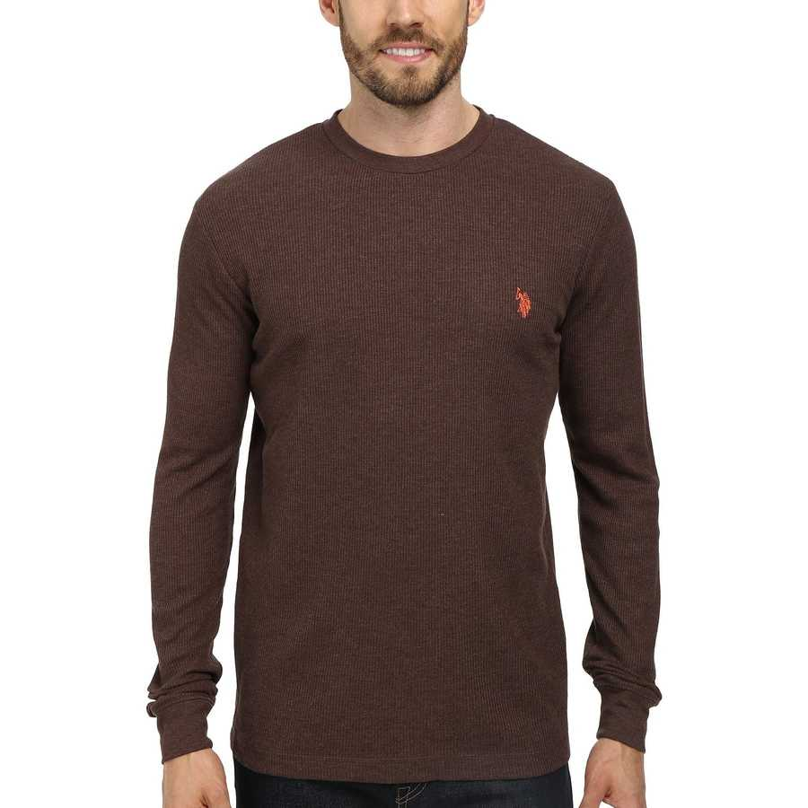 U.S. Polo Assn. Brown Heather Long Sleeve Crew Neck Solid Thermal Shirt