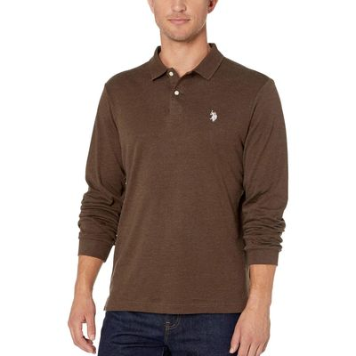 U.S. Polo Assn. - U.S. Polo Assn. Brown Heather Long Sleeve Solid Interlock