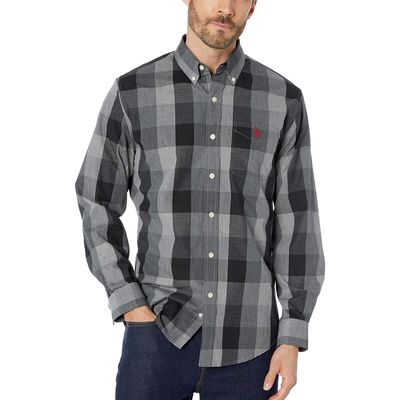 U.S. Polo Assn. - U.S. Polo Assn. Campus Gray Long Sleeve Classic Fit Plaid Heather Woven