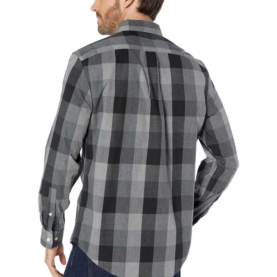 U.S. Polo Assn. Campus Gray Long Sleeve Classic Fit Plaid Heather Woven
