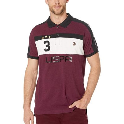 U.S. Polo Assn. - U.S. Polo Assn. Cherry Heather Slim Fit Uspa 3 Color Block Knit