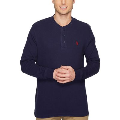 U.S. Polo Assn. - U.S. Polo Assn. Classic Navy Long Sleeve Thermal Henley Shirt