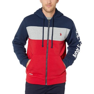 U.S. Polo Assn. - U.S. Polo Assn. Classic Navy Sleeve Wordmark Color Block Hoodie