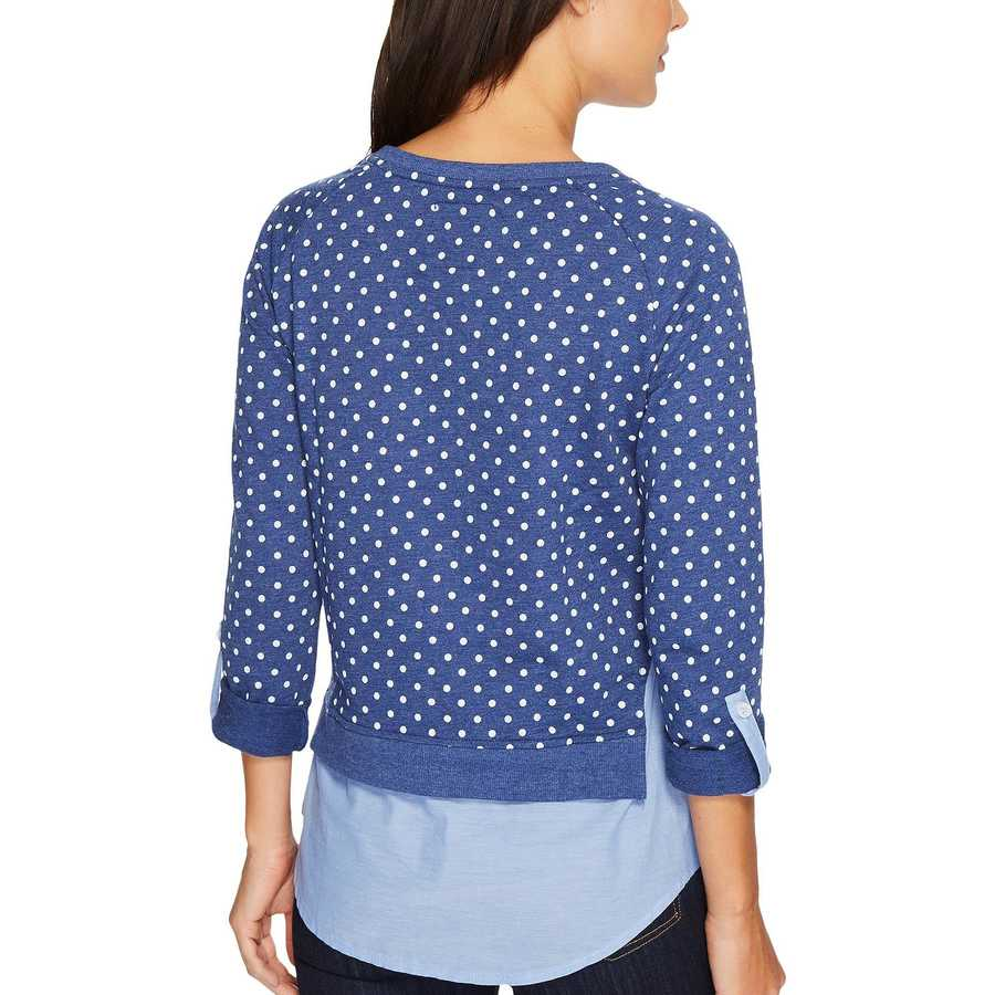 U.S. Polo Assn. Cloudburst Blue Polka Dot French Terry And Woven Twofer Top