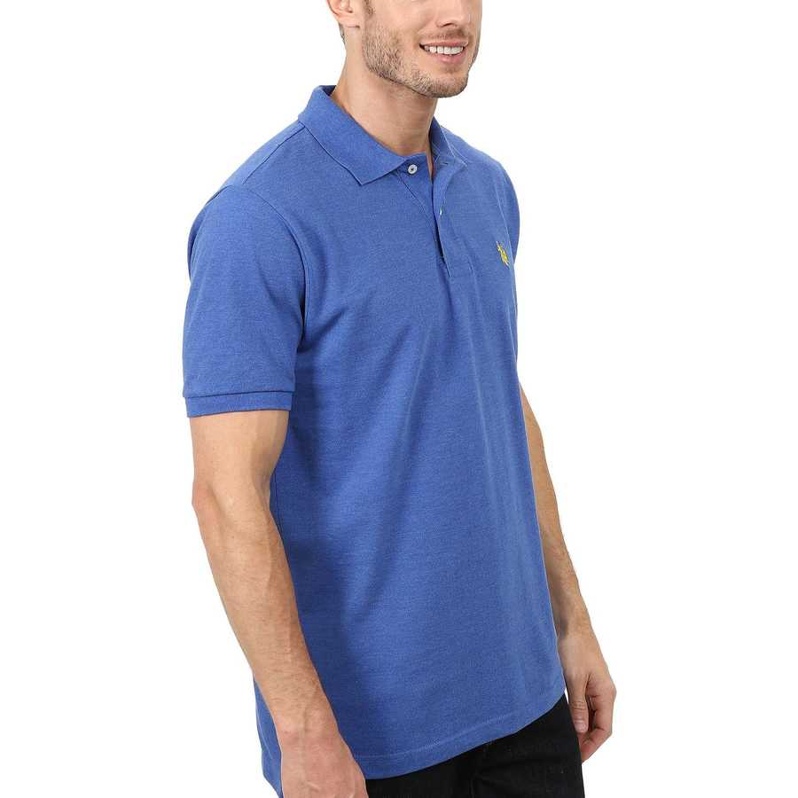 U.S. Polo Assn. Cobalt Heather Solid Cotton Pique Polo With Small Pony