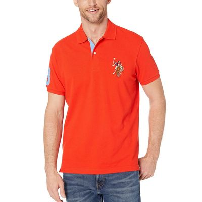 U.S. Polo Assn. - U.S. Polo Assn. Crimson Fire Pique Polo W/ Multicolor Dhm