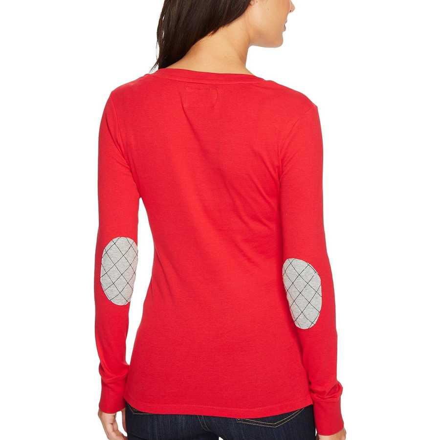 U.S. Polo Assn. Crimson Rib Knit Henley With Elbow Patches