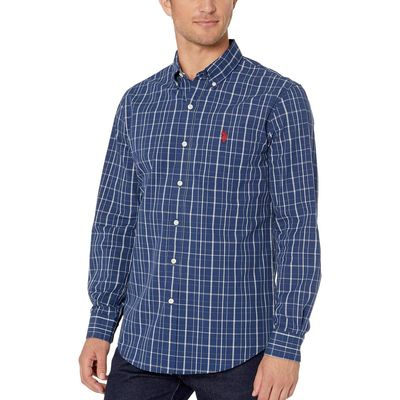 U.S. Polo Assn. - U.S. Polo Assn. Dark Blue Long Sleeve Plaid Woven