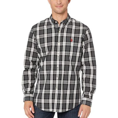 U.S. Polo Assn. - U.S. Polo Assn. Dark Grey Heather Long Sleeve Plaid Woven