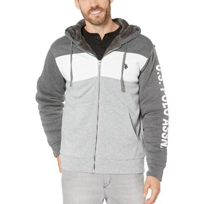 U.S. Polo Assn. - U.S. Polo Assn. Dark Grey Sleeve Wordmark Color Block Hoodie