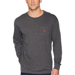 U.S. Polo Assn. Dark Heather Grey Long Sleeve Crew Neck Pocket T-Shirt - Thumbnail