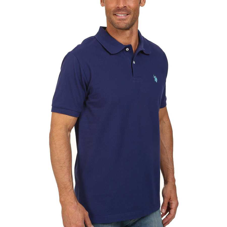 U.S. Polo Assn. Dodger Blue Solid Cotton Pique Polo With Small Pony