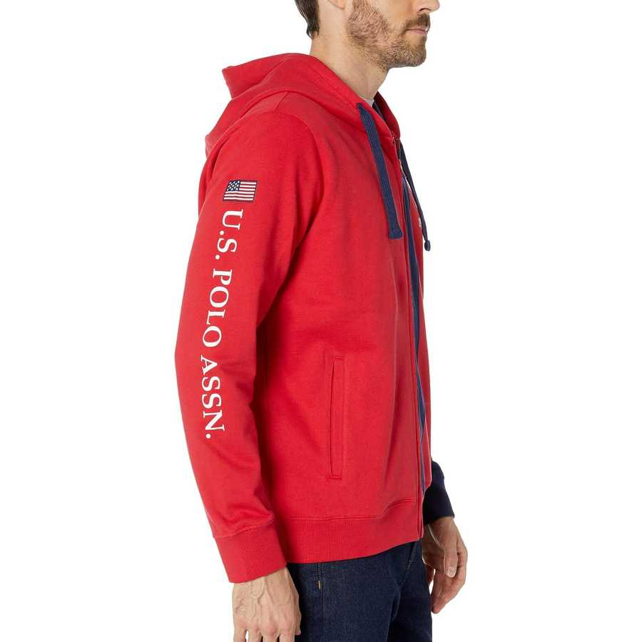 U.S. Polo Assn. Engine Red Bd Full Zip Color Block
