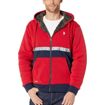 U.S. Polo Assn. - U.S. Polo Assn. Engine Red Color Block Hoodie W/ Reflective Stripe