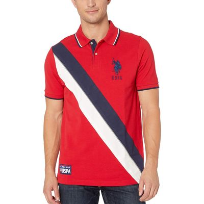 U.S. Polo Assn. - U.S. Polo Assn. Engine Red Diagnol Color Block Polo