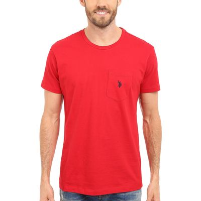 U.S. Polo Assn. Engine Red Solid Crew Neck Pocket T-Shirt