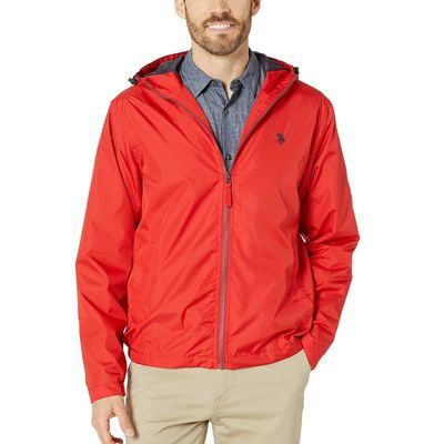 U.S. Polo Assn. - U.S. Polo Assn. Engine Red Solid Windbreaker W/ Hood