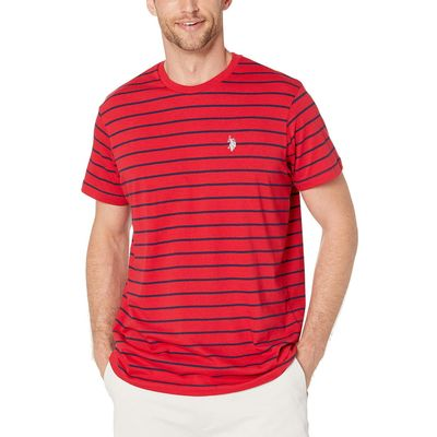 U.S. Polo Assn. - U.S. Polo Assn. Engine Red Thin Stripe Crew Neck Tee