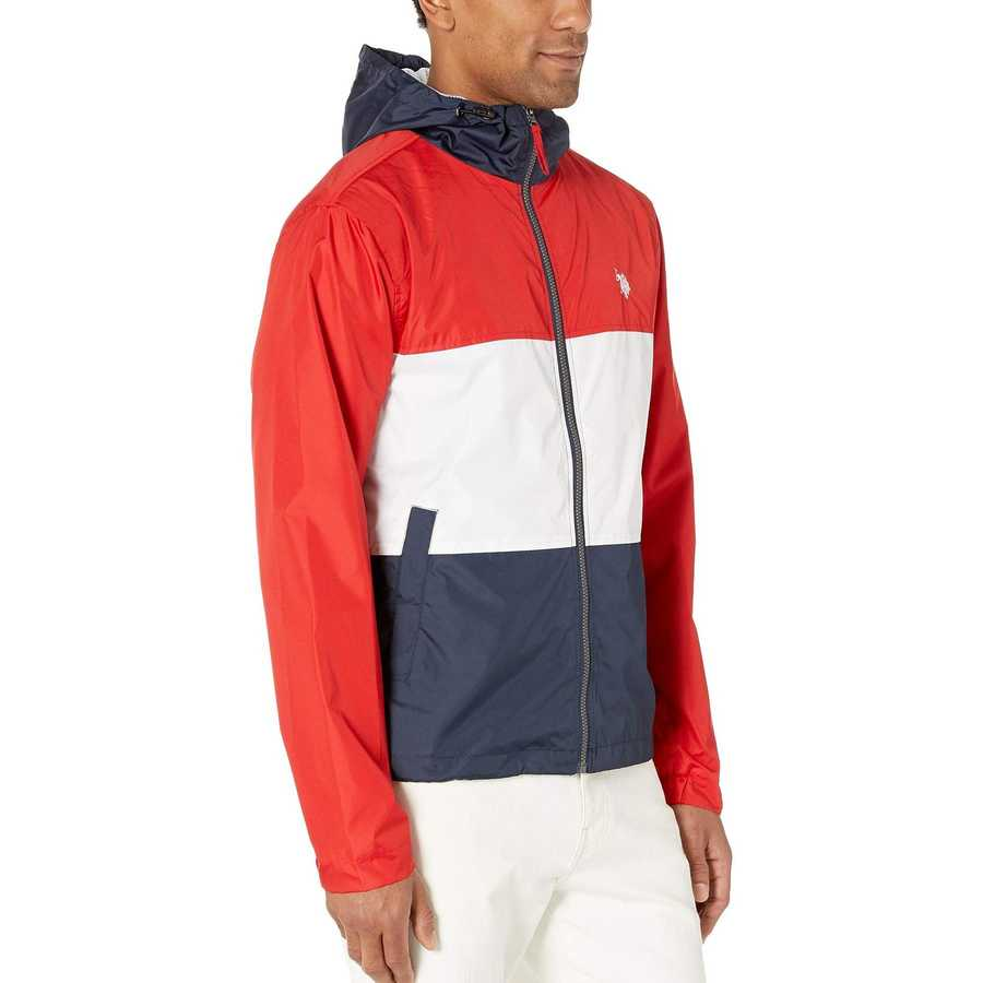 U.S. Polo Assn. Engine Red Tricolor Block Hooded Windbreaker