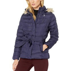 U.S. Polo Assn. Evening Blue Belted Puffer Jacket With Fur Hood - Thumbnail