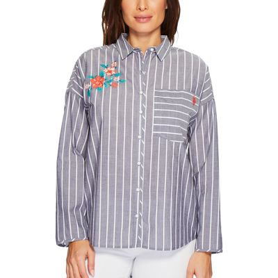 U.S. Polo Assn. - U.S. Polo Assn. Evening Blue Embroidered Stripe Blouse