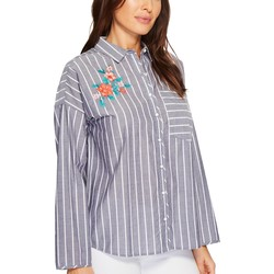 U.S. Polo Assn. Evening Blue Embroidered Stripe Blouse - Thumbnail