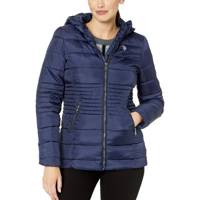 U.S. Polo Assn. - U.S. Polo Assn. Evening Blue Long Basic Smocked Waist Puffer With Hood