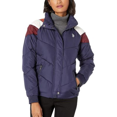 U.S. Polo Assn. - U.S. Polo Assn. Evening Blue Puffer Jacket With Corduroy
