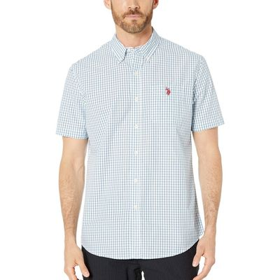 U.S. Polo Assn. - U.S. Polo Assn. Flip-Flop Blue Short Sleeve Check Woven