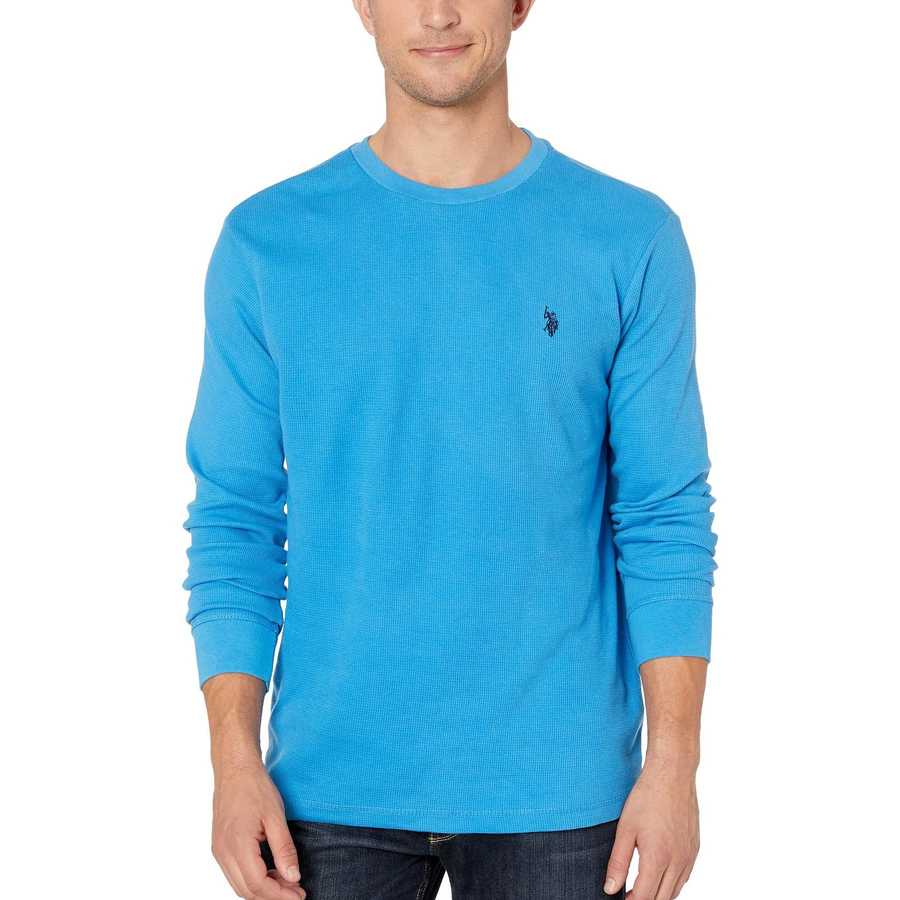 U.S. Polo Assn. French Blue Long Sleeve Crew Neck Solid Thermal Shirt