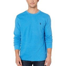 U.S. Polo Assn. French Blue Long Sleeve Crew Neck Solid Thermal Shirt - Thumbnail