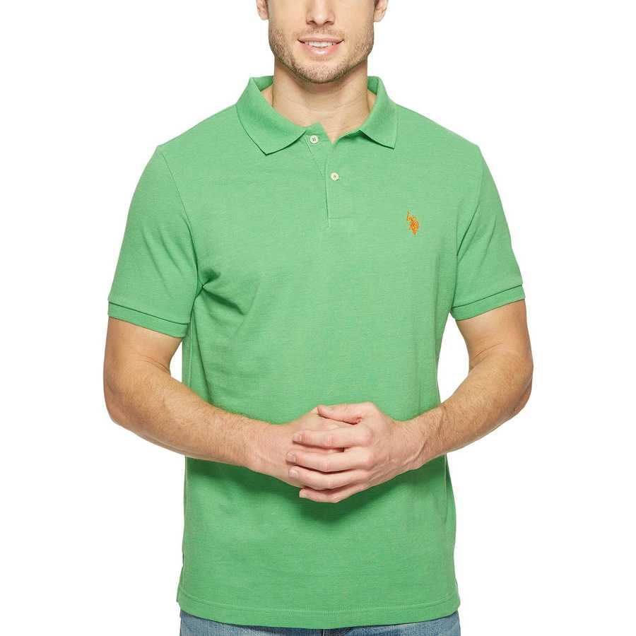 U.S. Polo Assn. Grass Heather Solid Cotton Pique Polo With Small Pony