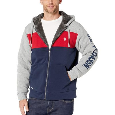 U.S. Polo Assn. - U.S. Polo Assn. Heather Grey Sleeve Wordmark Color Block Hoodie