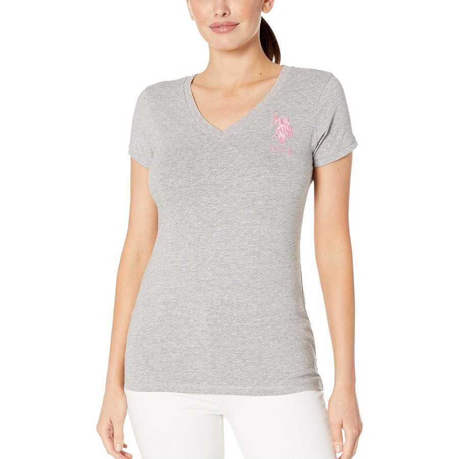 U.S. Polo Assn. Heather Grey Stretch Dot Lace Trim Tee