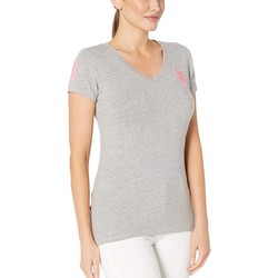 U.S. Polo Assn. Heather Grey Stretch Dot Lace Trim Tee - Thumbnail