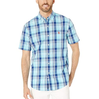 U.S. Polo Assn. - U.S. Polo Assn. Horizon Blue Short Sleeve Large Plaid Woven