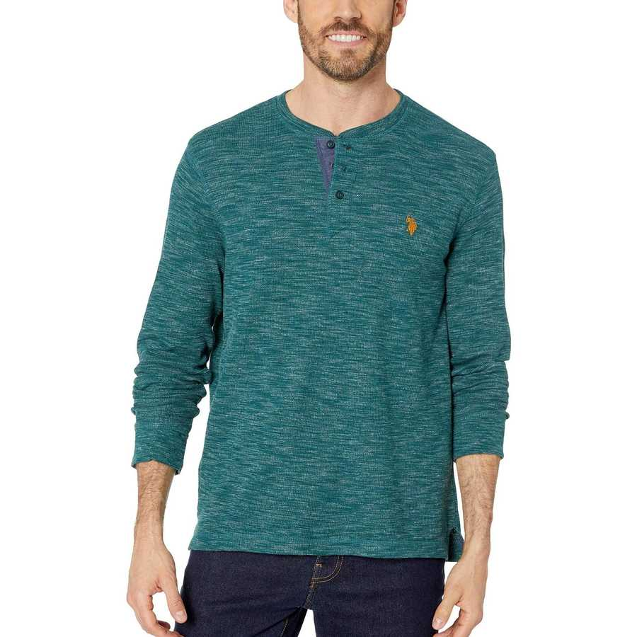 U.S. Polo Assn. Ivy Patch Space Dye Thermal Henley