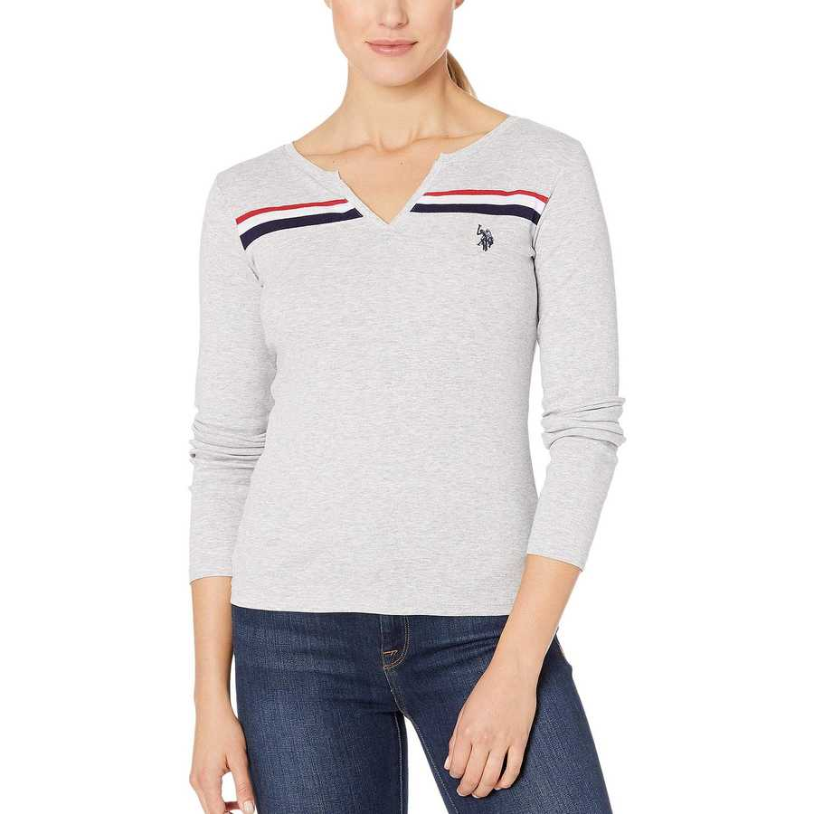U.S. Polo Assn. Light Heather Grey Slit Front Tee