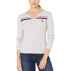 U.S. Polo Assn. Light Heather Grey Slit Front Tee - Thumbnail